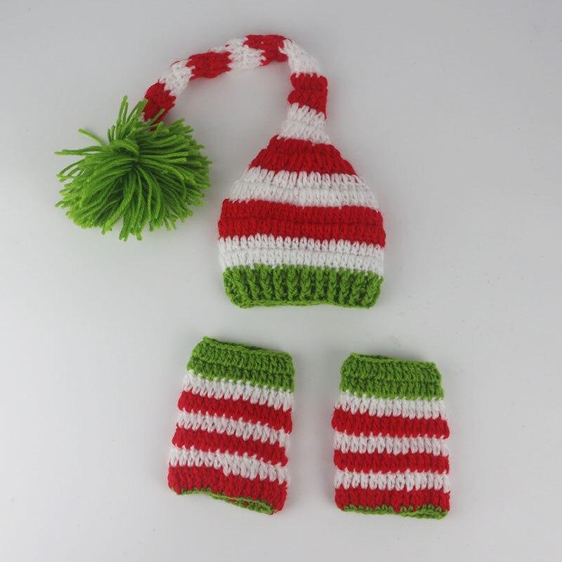 0 - 6 mês bébé conception de noël chapeau main bonnets costume tricoté  nouveau - né long tail crochet photographie props chapeau nouveau - né 23ac620d2fc