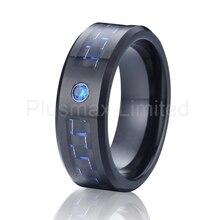Alianza de fibra de carbono negro y azul cz diamond stone anillo de carburo de tungsteno anillo de matrimonio para hombres y mujeres