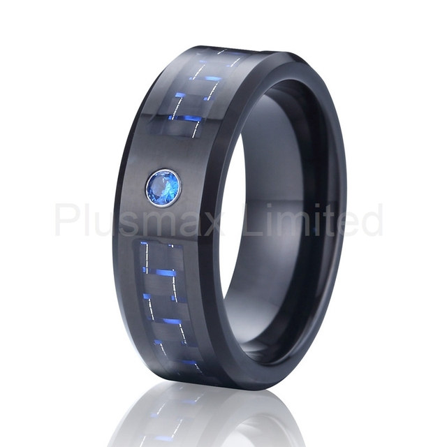 Black And Blue Carbon Fiber Alliance Cz Stone Wedding Band Tungsten Carbide Ring For Men