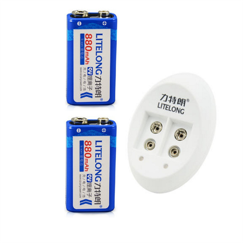 2pcs 9v Rechargeable 880mAh Lithium ion Battery 1PCS Smart Charger with Adapter