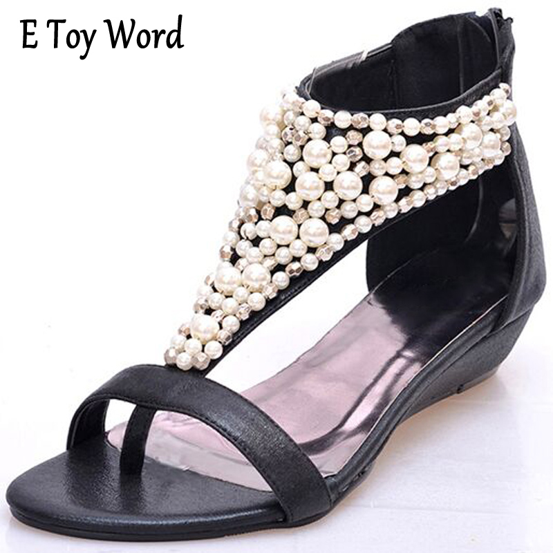 E TOY WORD Gladiator Sandals Summer Style Flip Flops Elegant Platform Shoes Woman Pearl Wedges Sandals Casual Women Shoes hee grand gladiator sandals summer style flip flops elegant platform shoes woman pearl wedges sandals casual women shoes xwz1937