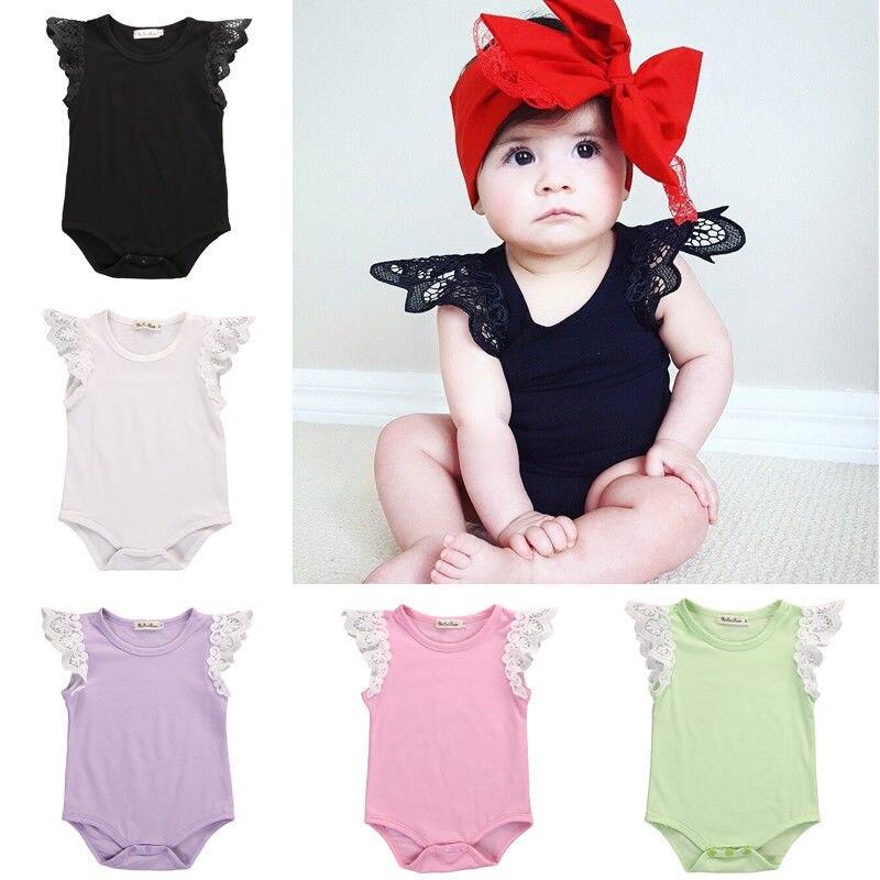 0-24 Mt Neugeborenes Baby Kleidung Kleinkind Bebek Spitze Schulter Baumwolle Body Jumper Overall Kleidung Eine GroßE Auswahl An Farben Und Designs