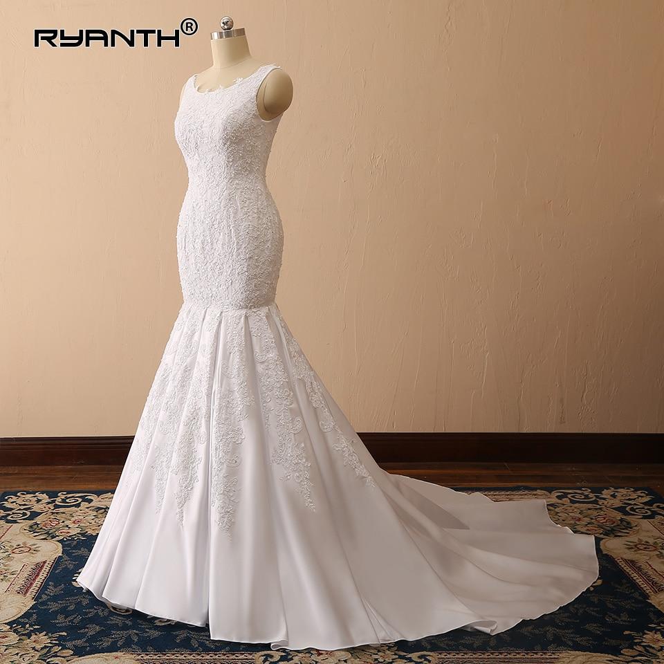Satin Mermaid Wedding Gown: Vestido De Noiva Sereia 2019 Modern Muslim Lace Satin