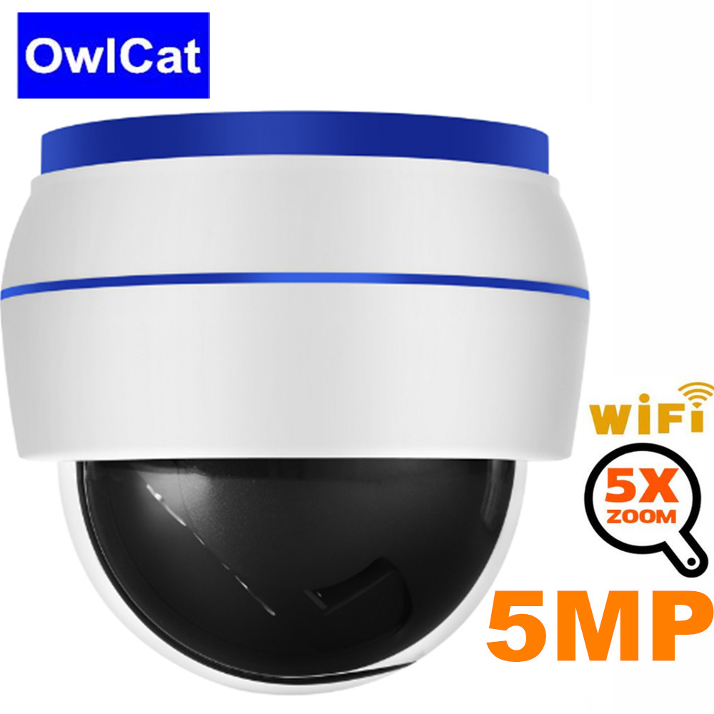Wifi IP Camera PTZ HD 5MP 128G SD card slot 5x Optical Zoom Dome Security Surveillance CCTV Camera Built in Mic Audio Monitoring image