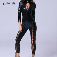 YUFEIDA Sex Products Lingerie Body Suit Latex Faux Leather Catsuit Steel Pole Tube Dance Club Clothes