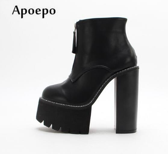 Apoepo Spring Runway Front Zip High Heel Boots 2018 Round toe Black Leather Ankle Boots for Woman Sexy Platform Thick Heels Boot womens punk ankle boots chunky heels platform side zip leather moto shoes woman high heel thick heel platform motrocycle boot