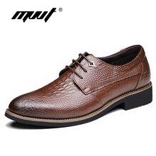 MVVT Crocodile Print Men Dress Shoes Genuine Leather Shoes Men Formal Shoes British Fashion Men Oxfords Shoes