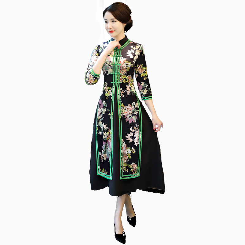 Grande taille 4 XLVietnam Ao Dai velours femmes amélioré longue Qipao deux pièces Slim Cheongsam longue robe de soirée YZT1209