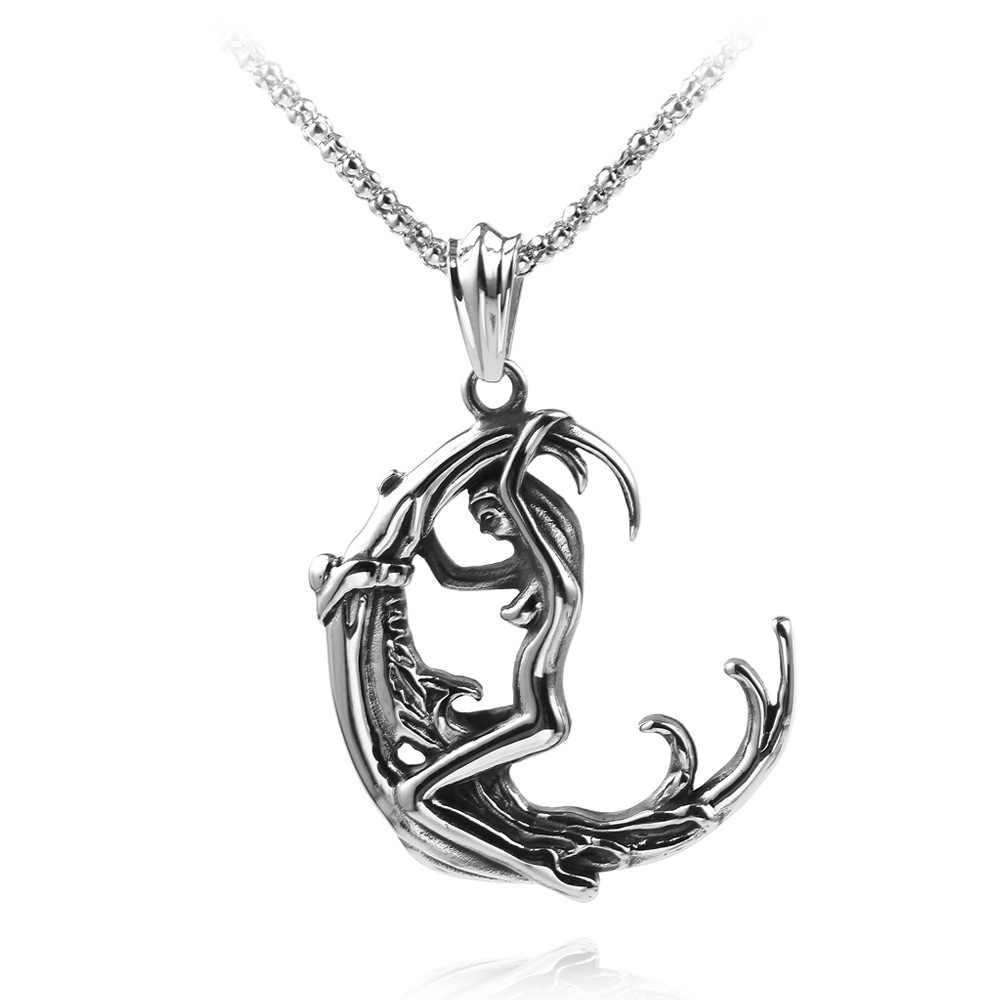 Lua deusa wicca pentagrama amuleto mágico talismã homem pingente lua colar feminino tibetano vintage jóias