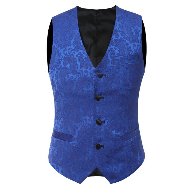 YFFUSHI 2018 Brand Men Suit 3 Pieces Luxury Blue Jacquard Tuxedo - Herrkläder - Foto 4