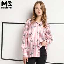 Mooishe Summer Casual Women Pink Shirts Bird Print Strips Loose Long Sleeve Polo Shirts Women Fashion Tops