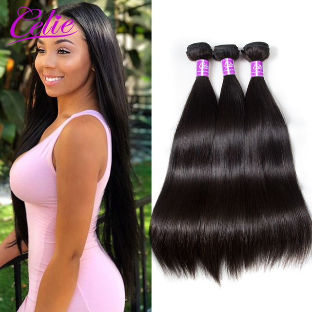 Celie Hair Straight Brazilian Hair Weave Bundles 10-30 inch Brazilian Virgin Hair Bundle Deals 100% Human Hair Weave Extensions