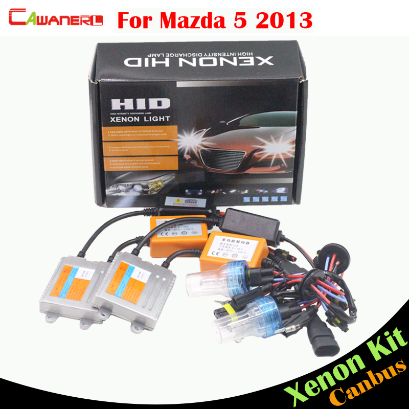 Cawanerl 55W Car Canbus Ballast Bulb AC No Error HID Xenon Kit 3000K 4300K 6000K 8000K Car Headlight Low Beam For Mazda 5 2013 cawanerl 9006 hb4 55w no error hid kit canbus xenon ballast bulb ac 3000k 15000k car headlight fog light daytime running lamp