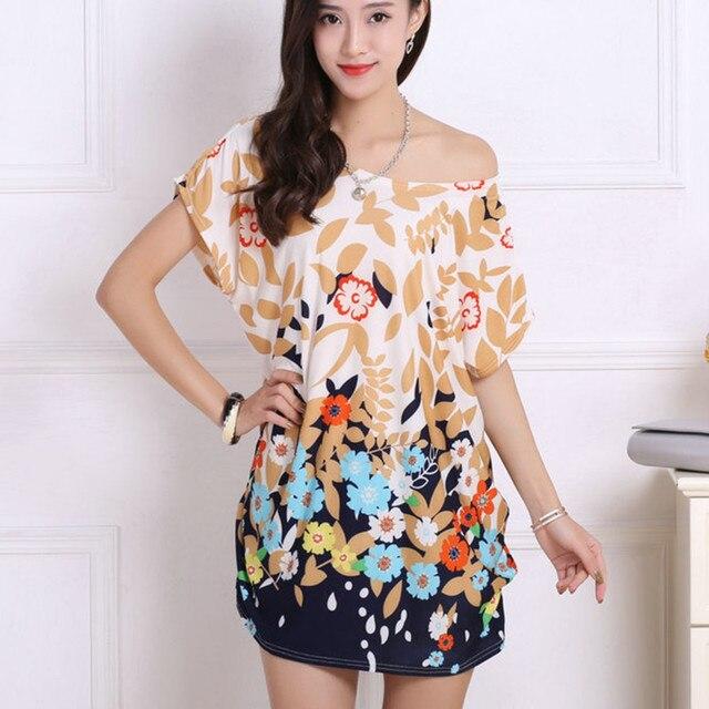 2017 lente zomer vrouwen Jurk Plus Size Vrouwen mini jurk korte mouwen Losse Casual Tops mode tuniek jurken grote grote 4xl 5xl