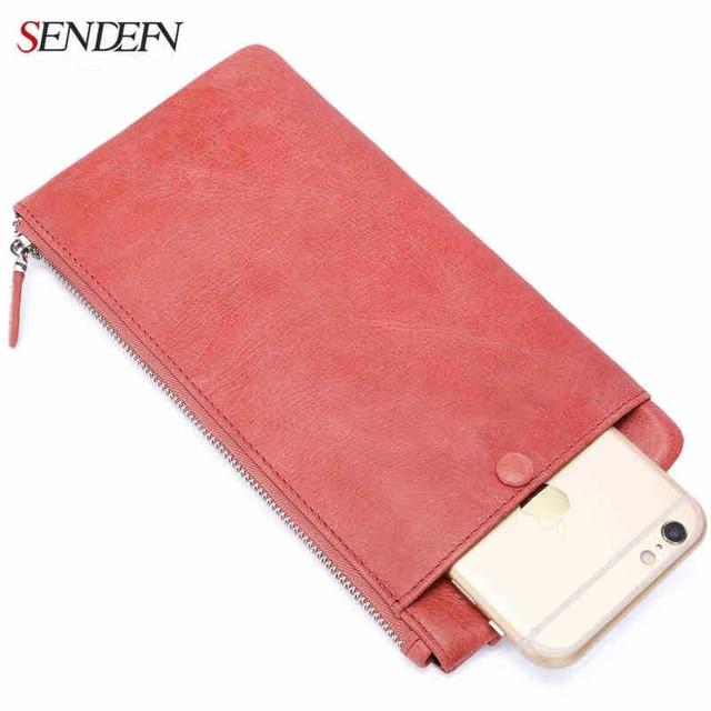 Sendefn genuine leather wallets, women soft bag with zip pocket phone long madam female Wallet Card Holder coin phone pocket wal