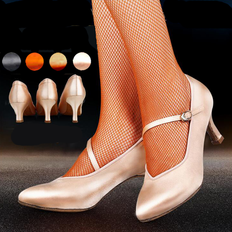Women Ballroom Latin Dance Shoes Ladies Satin Closed Toe Salsa Tango Waltz Dance Shoes Slim Heel 5.5 Cm/6.5 Cm/7.5 Cm