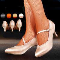 Women Ballroom Latin Dance Shoes Ladies Satin Closed Toe Salsa Tango Waltz Dance Shoes Slim Heel 5.5 cm/6.5 cm/7.5 cm