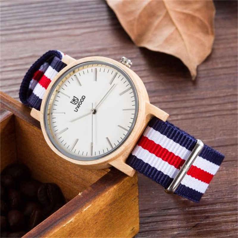 Reloj de madera clásico informal de correa de nailon para hombre con banda a rayas de varios colores hombre