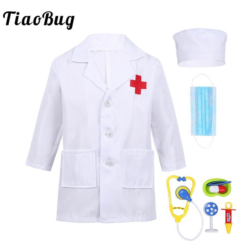 TiaoBug Unisexe Garçons Filles Chirurgien Médecin Uniforme Manteau Médecin Jouer Outils Set Halloween Costume pour Enfants Cosplay Party Dress Up