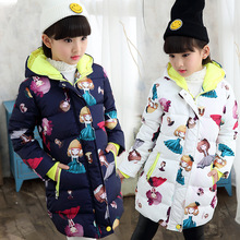 Baby Girls Jackets Autumn Winter Long Coat For Girl Thick Cotton Print Coat Kid Clothes Children Warm Hooded Outerwear Coat 2017 brand girls winter warm flower print long coat hooded girl school fashion down jackets cotton padded kid winter clothes