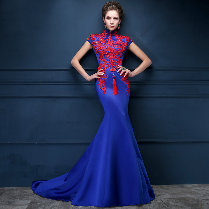 Royal Blue Satin Trailing Long Cheongsam Dresses Stand Collar Embroidery Qipao International