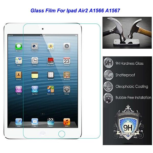 """Para Apple Ipad6 Ipad 6 air2 aire 2 A1566 A1567 seguridad 7.9 """" 0.3 mm templado protectora película de vidrio con"""