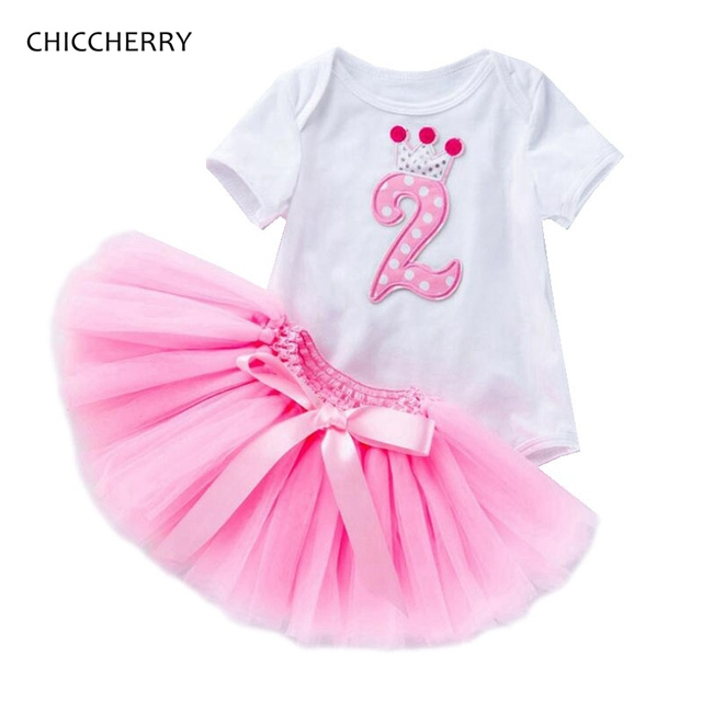 51917a948 2nd Birthday Outfit Baby Girl Clothes Sets Bodysuit Lace Tutu Skirts ...