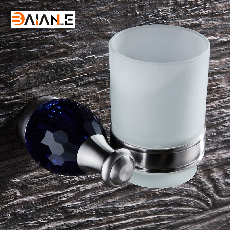 Cup & Tumbler Holders Stainless Steel Brushed Cup Holder glass cups Bathroom Accessories Single Toothbrush Tooth holder frap bathroom accessories wall mounted silver single cup tumbler holder toothbrush toothpaste glass cup holders f3706