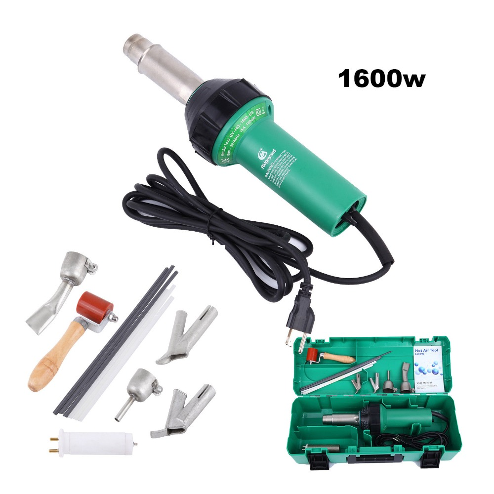 (Ship from USA) 1600W Hot Air Torch Plastic Welder Heat Gun Pistol 4 Nozzle Rods with Protect Case ems dhl fast shipping 230v 3000w heat element for for heat gun handheld hot air plastic welder gun plastic welder accessories
