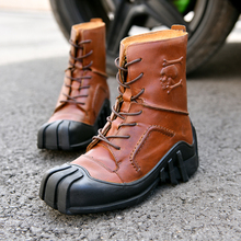 Motorcycle boots Genuine Cow Leather Motorcycle Racing Boots Street Moto Chopper Cruiser Touring Motorbike Riding Mid-Calf Shoes new motorcycle genuine leather boots racing boots touring boots riding road boots size 39 45