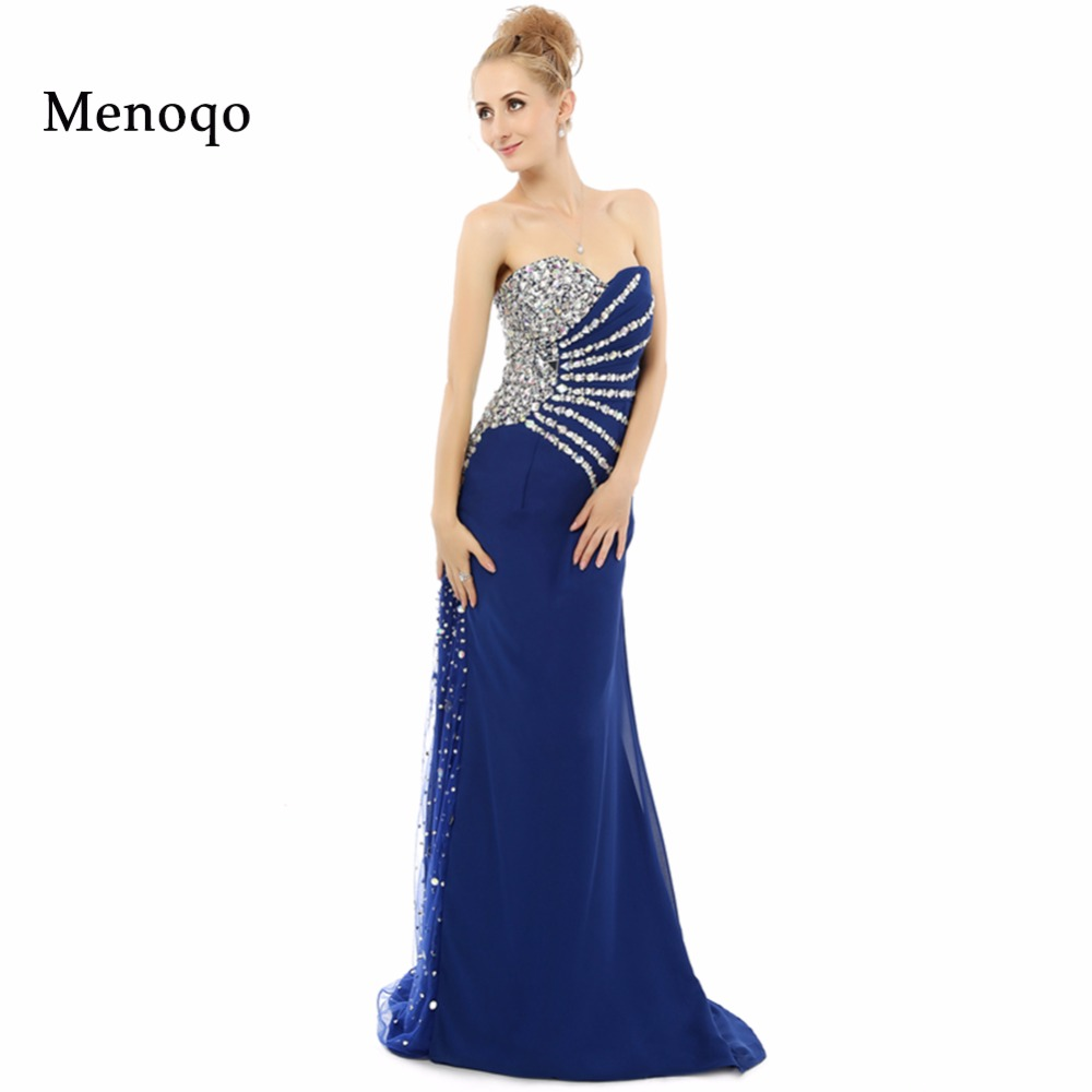 7116W Abendkleid 2019 New Fashion Real Sample Sweetheart Mermaid Royal Blue Long Evening Dress Rhinestone Prom Dresses 2019-in Evening Dresses from Weddings & Events    1