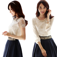 Free Shipping Dress Long Sleeved Round Collar Lace Tops Render Chiffon Unlined Shirts Garment Blouses Garment