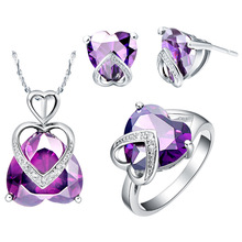 NEW Gold Plated Sterling Silver set custom suit 925 imported Austria Crystal Amethyst kjjeaxcmy fine jewelry 925 sterling silver plated white gold ring pendant deep amethyst necklace set ladies two piece suit