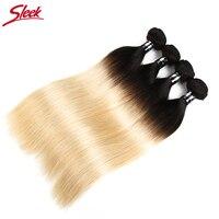 Sleek Реми ombre Человеческие волосы пучки бразильские прямые волосы переплетения Связки 4 шт. 1B/613 Мёд Blonde10 до 30 дюймов бесплатная доставка
