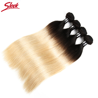 Sleek Remy Ombre Human Hair Bundles Brazilian Straight Hair Weave Bundles 4pcs 1b/613 Honey Blonde10 To 30 Inch Free Shipping