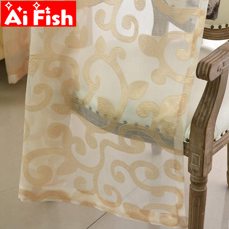 Modern Simple Nordic Gold Dendrite Leaves Sheer White Tulle Curtains For Living Room Coffee Voile Jacquard Window For Grey Voile