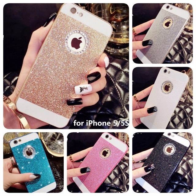 bbbafb2f7fc 2016 New Shinning Logo Window Back Cover Sparkling Phone Cases for iPhone 5  5S Luxury Flash Diamond Mobile Phone Bling Cases