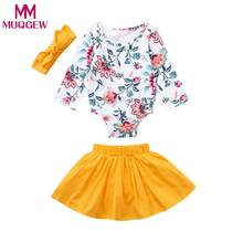 MUQGEW Newborn Infant Baby Girls Clothes Floral Romper Skirt Headbands Outfits Clothing Set roupa infantil(China)