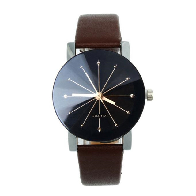 Mens Womens Simple Casual Luxury Unisex Lovers Hour Quartz Dial Clock Wrist Watch Round Case Leather Strap Wristwatch Relogio