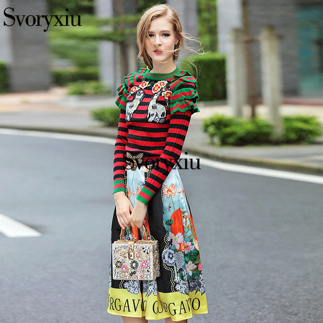 Svoryxiu High Quality 2016 New Fashion Women Two Piece Set Print Embroidery  pullovers + Crystal Beading Sashes Knee Skirt Sets