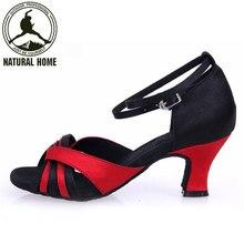 NaturalHome Marque Noir Rouge Fille de Femmes Chaussures De Danse Latine Satin En Simili-Cuir de Salle De Bal/Tango/Salsa Sandales Chaussures 5 CM Talon