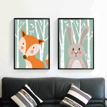 Rabbit And Fox Cartoon Animal Print Canvas Painting Prints For Kids Bedroom Home Decoration Modern Wall Art Oil Posters