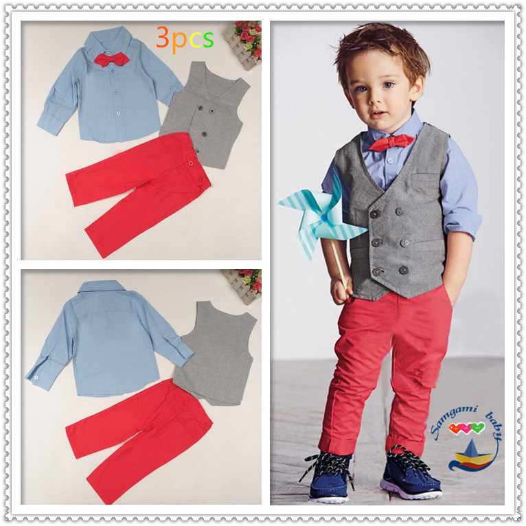 DHL EMS Free shipping baby boys Toddlers NEW Gentlemen 3pc Suit shirt Waistcoat Pants Kids Clothing Children Casual Set dhl ems shipping 5pcs 10pcs new kq2h06 01s kq2t04 00 for smc connectors