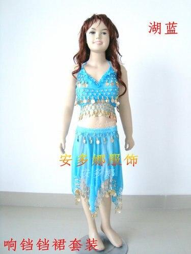 Танец живота костюм топ бюстгальтер и юбка fit детская рост 90-130 см, дети От 6 до 13 лет 6 цветов на выбор - Цвет: Light blue
