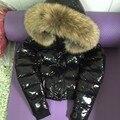 2016 Nueva Marca Invierno Mujeres Abajo Chaqueta Blanca Con Mapache Fur Delgado Encapuchado Ultraligero Invierno Chaqueta de Las Mujeres Abrigo Grueso Outwear 270