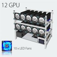 De aluminio Caja de Bastidor Marco de Plata Marco Apilables Plataforma Minera al Aire libre Con 10 Ventiladores LED Para 12 GPU del Ordenador ETH
