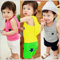 New 2016 baby boy and girls clothing sets Retail Summer Children's Clothing Set kids star pattern vest+Pants Polka Twinset