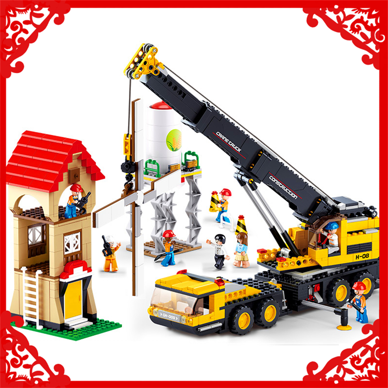 SLUBAN 0553 Block Engineering Crane Vehicles Model 767Pcs DIY Educational  Building Toys Gift For Children Compatible Legoe sluban 2500 block vehicle maintenance repair station 414pcs diy educational building toys for children compatible legoe