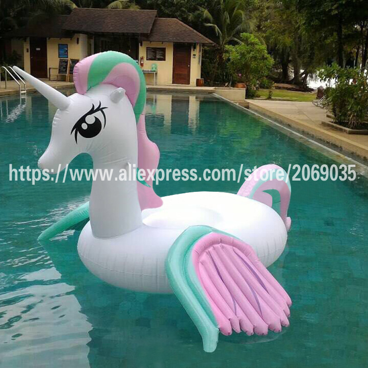 2017 New Design Giant Rainbow Unicorn Pool Float 250*220*165cm Pegasus Women Swimming Broad Inflatable Ride-on Water Toy Piscina commercial sea inflatable blue water slide with pool and arch for kids