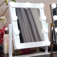 Dimmable Hollywood Makeup Vanity Mirror With Light Large Lighted Tabletop Cosmetic Mirror With 9pcs Touch Control Led Bulbs
